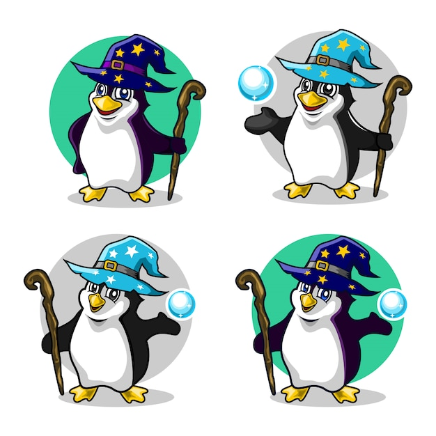Penguin wizard Premium Vector