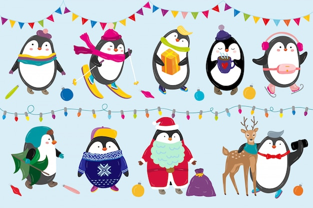 Penguins celebrate christmas illustration happy funny animal characters in winter and new year costume Premium Vector