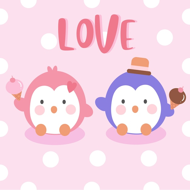 Penguins couple holding ice cream Premium Vector