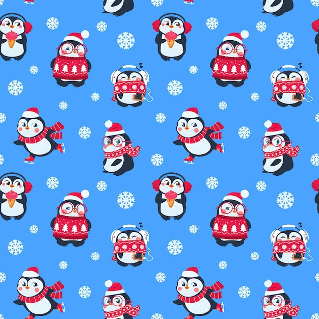 Penguins seamless pattern. cute christmas package with funny baby penguin. winter holiday textile background Premium Vector