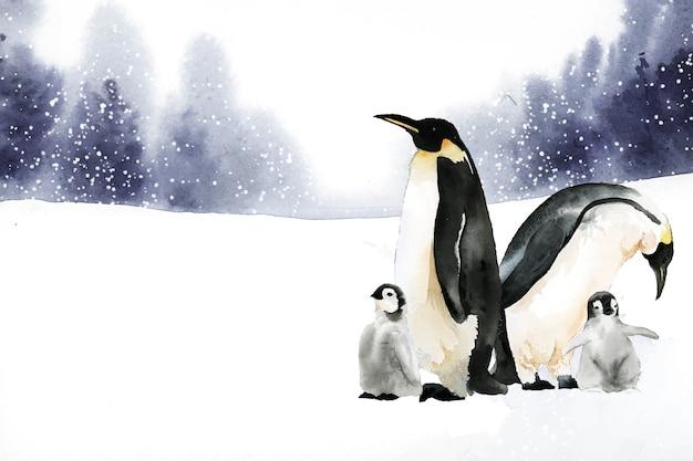 Penguins in a winter wonderland watercolor vector Free Vector