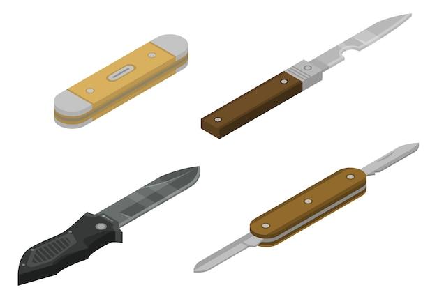 Penknife icons set, isometric style Premium Vector