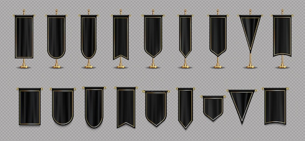 Pennant flags of black and gold colors mockup Free Vector