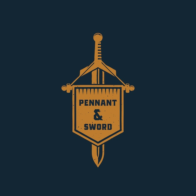 Pennant and sword abstract  sign, symbol or logo template. Free Vector