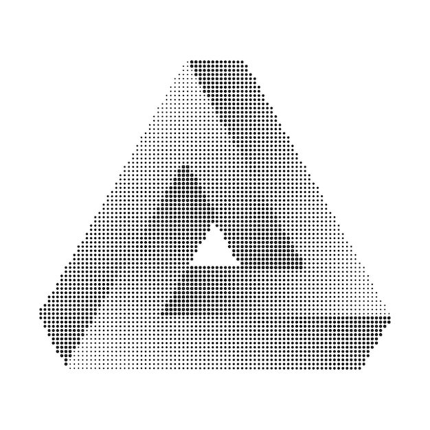 Penrose triangle. halftone, geometric minimalism print. Premium Vector