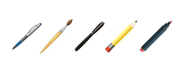 Pens elements set. cartoon set of pens Premium Vector