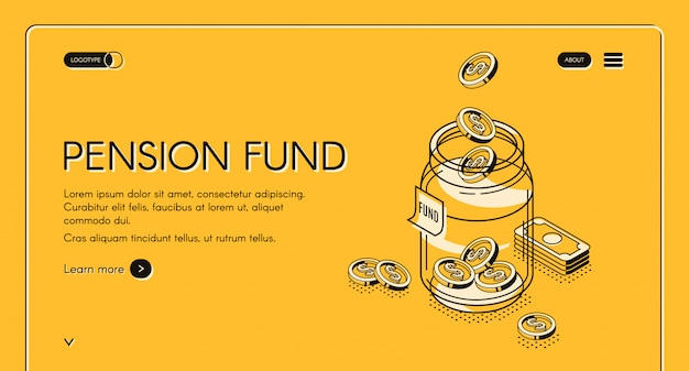Pension fund hand drawn landing page Free Vector