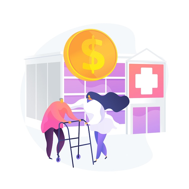 Pensioners healthcare expenses. senile patients treatment, budget finance, health insurance program. nurse assisting elderly man, retired client. vector isolated concept metaphor illustration Free Vector