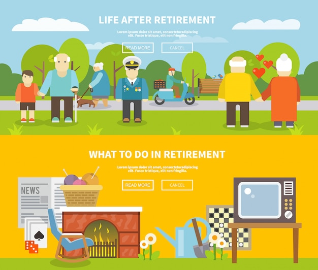 Pensioners life banner set Free Vector