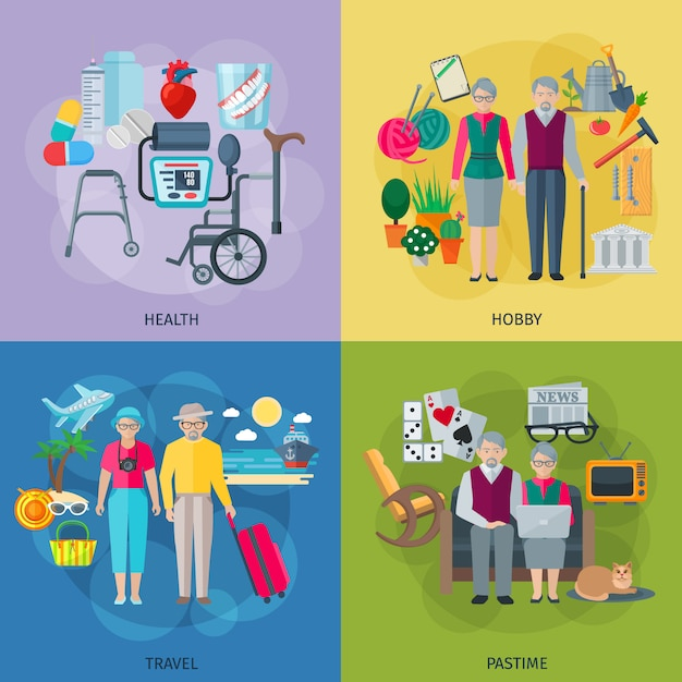 Pensioners life concept icons set with health hobby travel and pastime symbols Free Vector