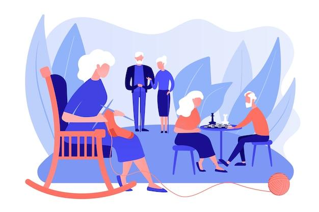 Пенсионеры проводят время в доме престарелых. пожилая пара играет в шахматы. мероприятия для пожилых людей, пожилой активный образ жизни, концепция проведения времени пожилых людей. розовый коралловый синий вектор изолированных иллюстрация Бесплатные векторы