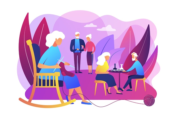 Pensioners pastime at senior home. aged couple playing chess. activities for seniors, elderly active lifestyle, older people time spending concept. Free Vector