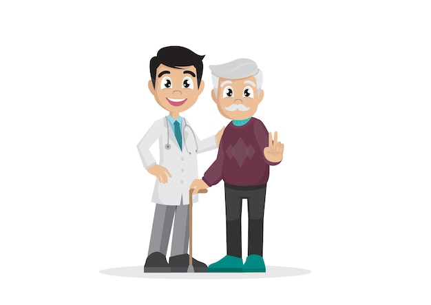 Pensioners with doctor. Premium Vector