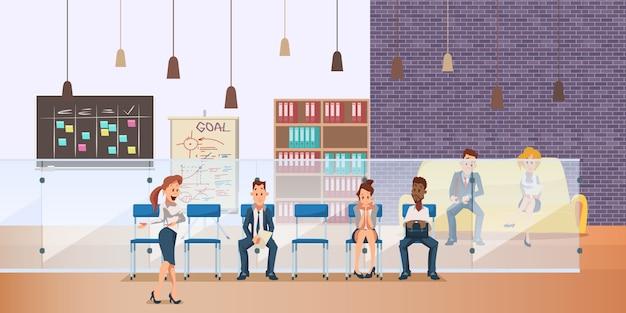 Pensive employee sit in queue for job interview Premium Vector