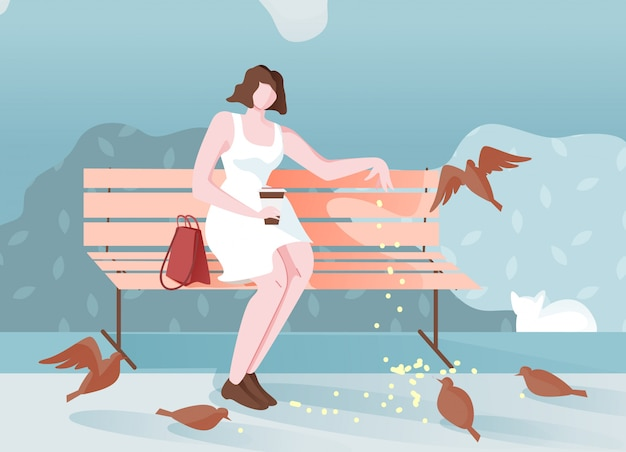 Pensive girl in park sits and feeds birds cartoon. Premium Vector
