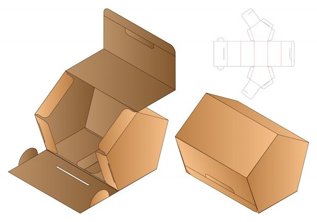 Pentagon shape paper bag packaging diecut template Premium Vector