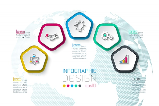 Pentagons label infographic with 5 steps. Premium Vector