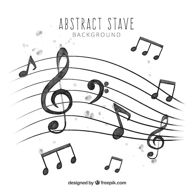 Pentagram sfondo e acquerello note musicali Vettore gratuito