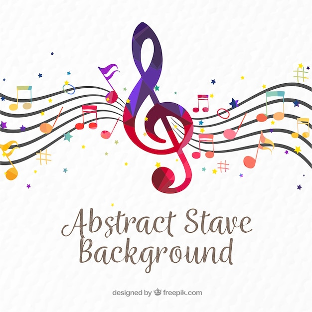 Pentagram background with colorful treble clef Free Vector