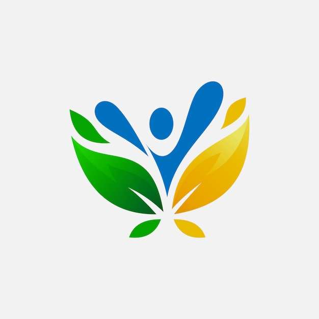 Peolpe and leafs logo design Premium Vector
