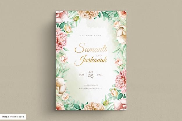牡丹の結婚式の招待カードセット 無料ベクター