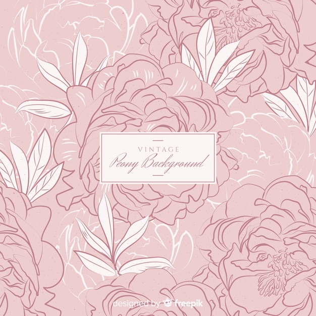 Peony flower background in retro style Free Vector