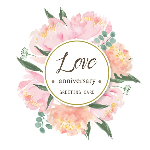 Peony flowers blooming wreath Premium Vector