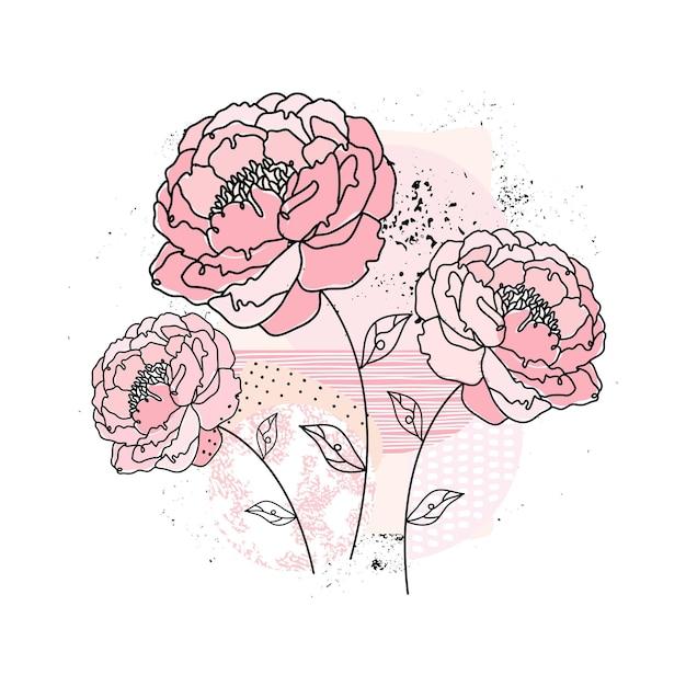 抽象的な背景に1つの連続した線の牡丹の花。最小限の花のスケッチ。現代的な手描きイラスト。エレガントなコンセプト。ミニマリストのアートスタイル。 1つの黒い線画 Premiumベクター