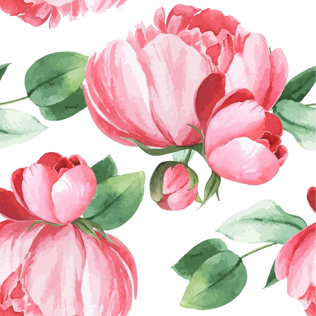 Peony flowers watercolor pattern seamless floral botanical watercolour style vintage textile Free Vector