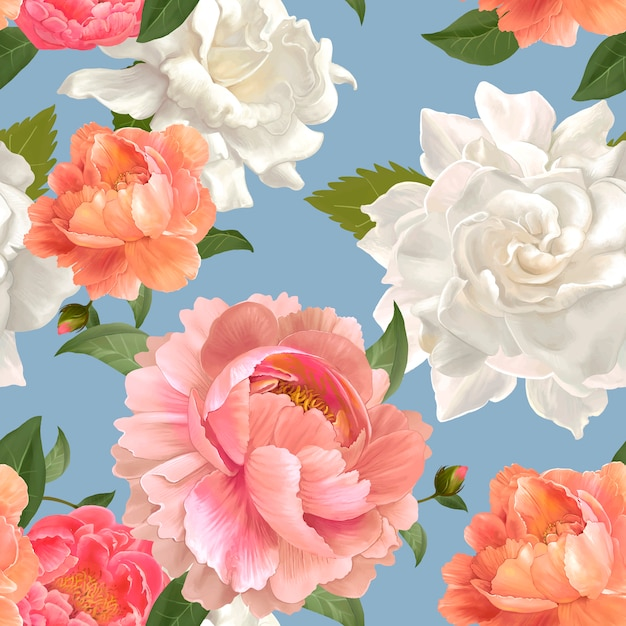 Peony patterned wallpaper Free Vector