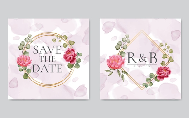 Peony rose flowers wedding invitation with golden frame Premium Vector
