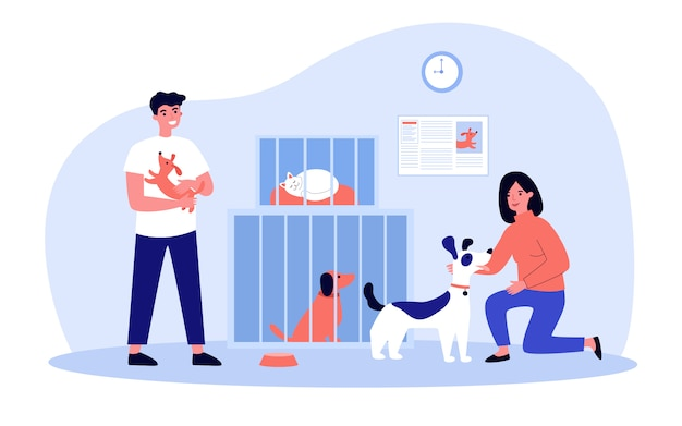 People adopting pets from shelter Premium Vector