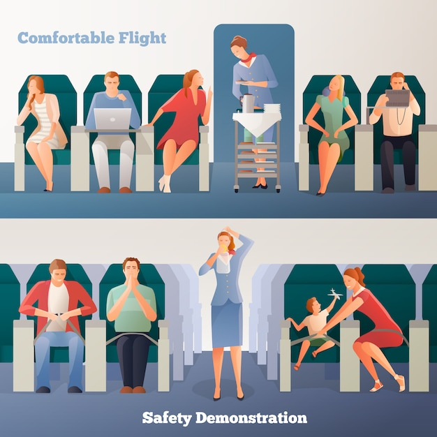 People in airplane horizontal banners Free Vector