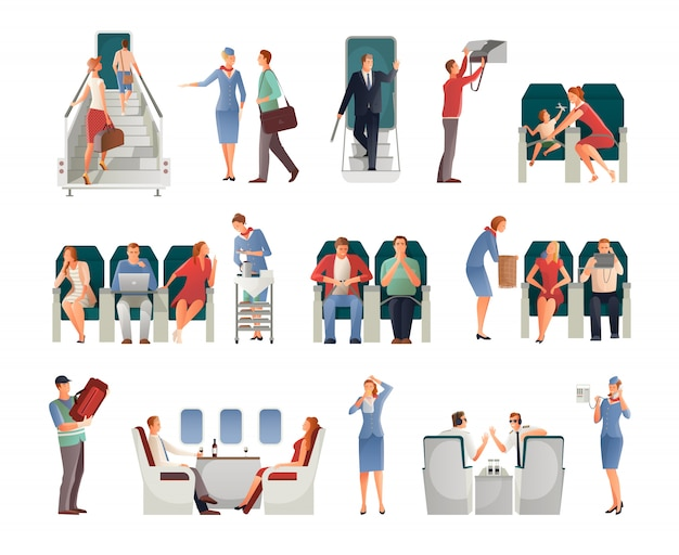 People in airplane set Free Vector