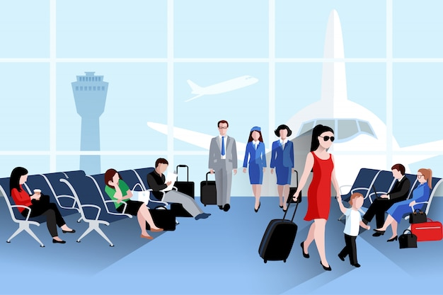 People on airport composition with plane window and luggage Free Vector