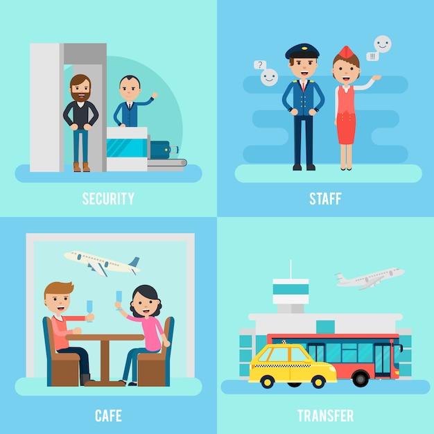 Persone in aeroporto piatto concetto Vettore gratuito