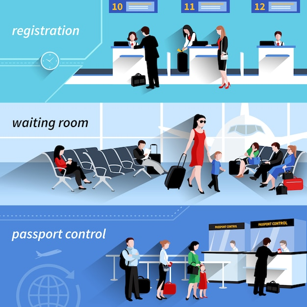 People in airport horizontal banners set with waiting room elements isolated Free Vector