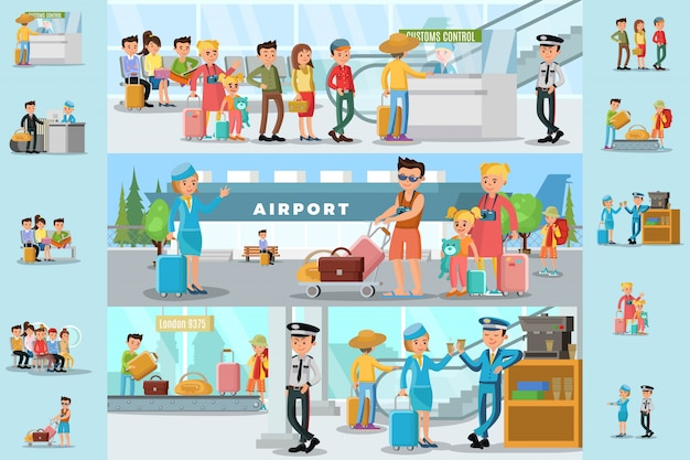 People in airport infographic template Free Vector