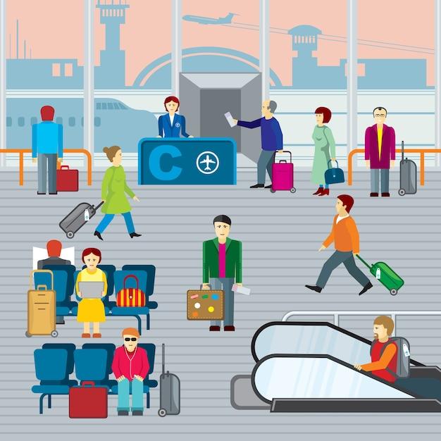 Persone in aeroporto. uomo e donna con viaggio bagagli, partenza e viaggio. illustraton di vettore piatto Vettore gratuito