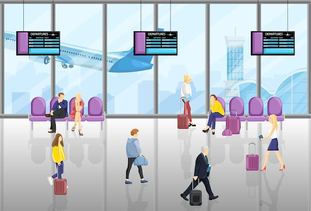 People at the airport Premium Vector