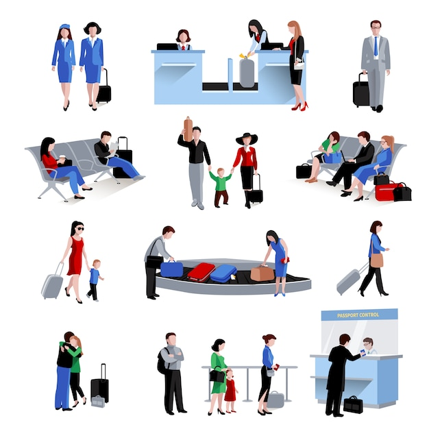 People in airport Free Vector