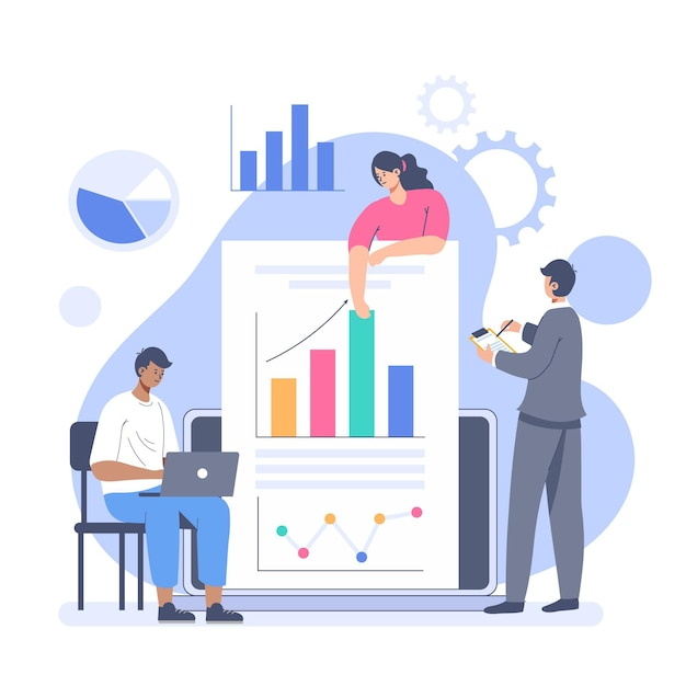 People analyzing growth charts illustrated Free Vector