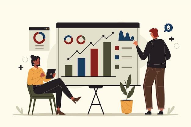 成長チャートを分析する人々 無料ベクター