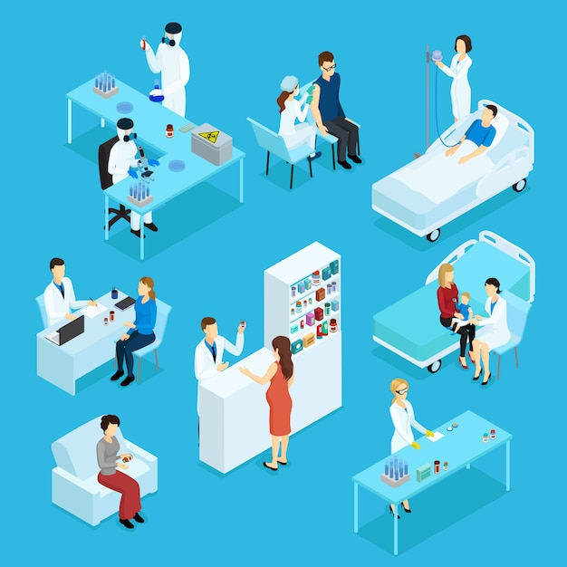 Изометрические набор людей и здравоохранения Premium векторы