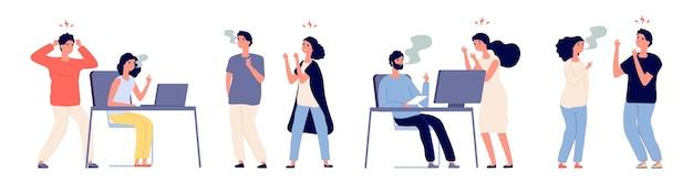 Люди злятся на курильщиков. вредная привычка, курильщики и некурящие люди. курильщик мужских и женских персонажей в офисе иллюстрации Premium векторы