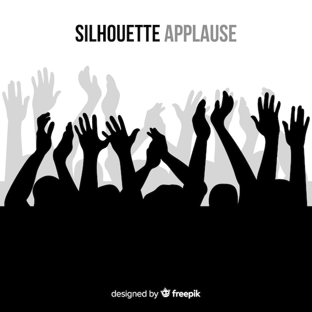 People applauding black silhouette background Free Vector