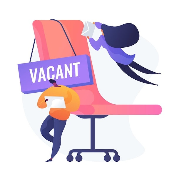 People applying for vacant job. business competition, available vacancy advertisement, position application. competing workers cartoon characters. Free Vector