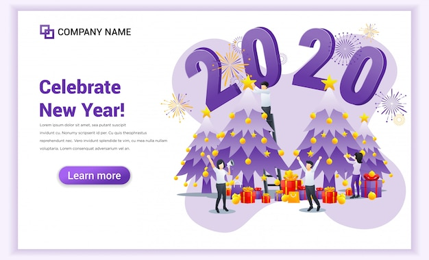 People are celebrating the new year 2020 near christmas tree landing page Premium Vector