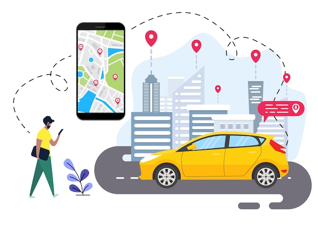 People are ordering online transportation Premium Vector