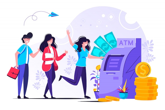 People are waiting in line near atm machine Premium Vector